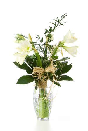 Bouquet of white hippeastrum flowers in crystal vase isolated on white background Stock Photo - 12538608