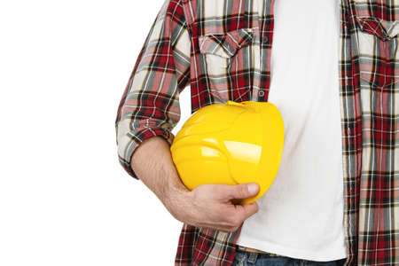 heavy equipment operator: Construction worker with hard hat isolated on white background