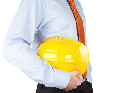 Close Up Of An Engineer With Hardhat Isolated On White Background photo