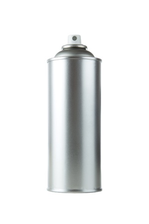 paint tin: Blank Aluminum Spray Paint Can Over White Background