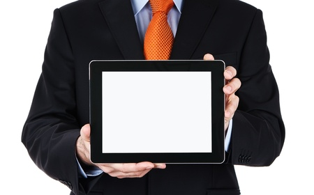 Businessman holding blank digital tablet, isolated on white background photo