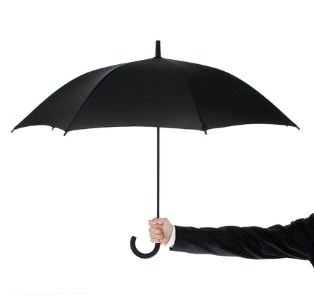umbrella rain: Businessman holding an umbrella isolated on white background
