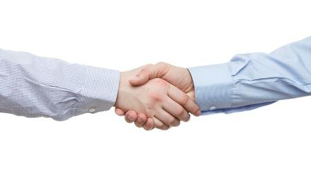 saludo de manos: Apret�n de manos aisladas sobre fondo blanco con copia espacio