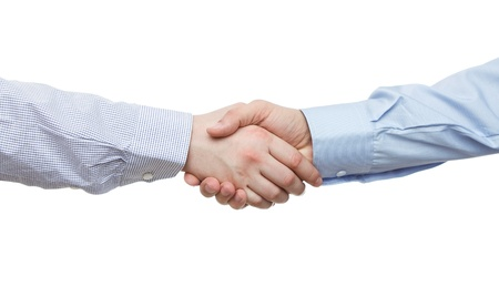 strong partnership: Handshake isolated on white background with copy space Stock Photo