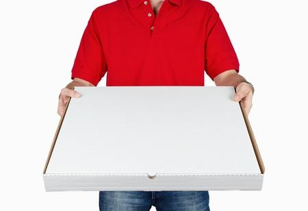 caja de pizza: Entrega de pizza aisladas sobre fondo blanco