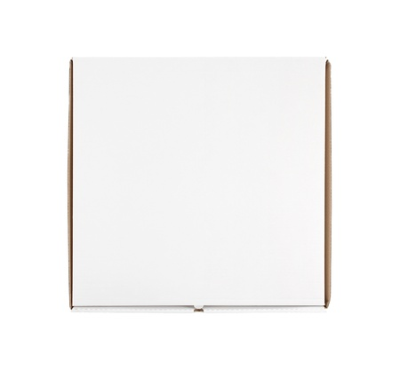 pizza box: High angle view of blank pizza box isolated on white