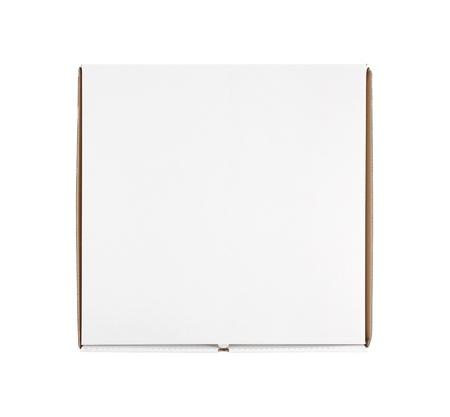 pizza box: Vista de �ngulo alto de la caja de pizza en blanco aislado en blanco