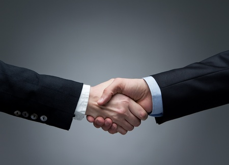 negotiation business: Woman and men shaking hands Stock Photo