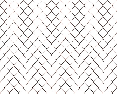 rusty chain: Rusty chainlink fence isolated on white background