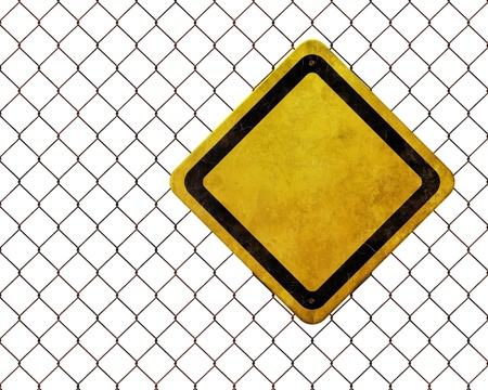 Grunge empty warning sign at rusty chainlink fence isolated on white background Standard-Bild