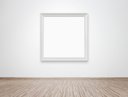 show room: Blank photo frame at the wall