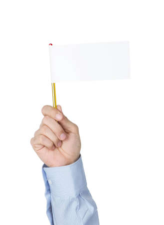 I give up! Office worker waving with white paper flag photo