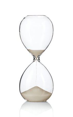 Hourglass, sand glass isolated on white background photo