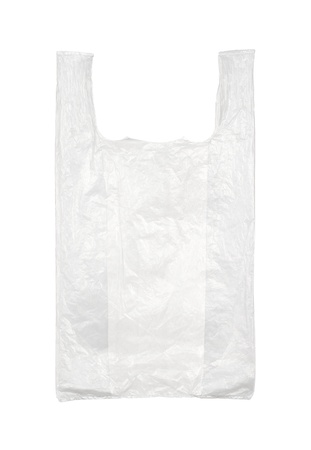 Used empty plastic bag isolated on white background photo