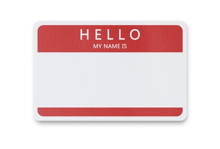 Blank name tag isolated on white background with clipping path photo
