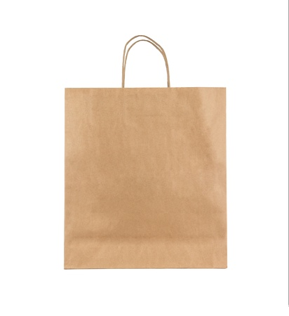 natural paper: Blank brown paper bag isolated on white background
