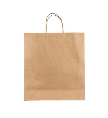 white paper bag: Bolsa de papel marr�n en blanco sobre fondo blanco