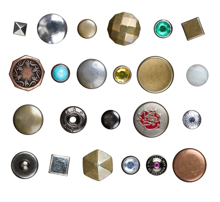 studs: Set of different jeans buttons, rivets and studs isolated on whie Stock Photo