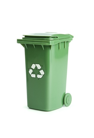 Green recycle bin isolated on white background photo