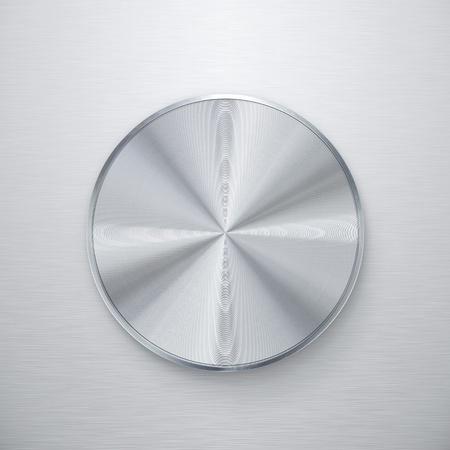 Blank shiny silver volume knob or push button Stock Photo - 13024117