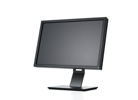 flat panel monitor: Side view of blank computer monitor isolated on white background  Stock Photo