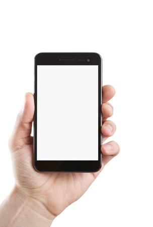 cellular phone call: Human hand holding blank smart phone
