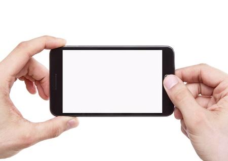tomando: Tomando a foto com telefone esperto isolado no fundo branco