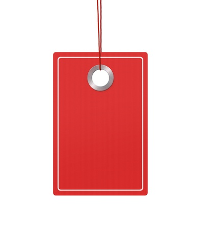 Blank price tag with copy space hanging over white background Stock Photo - 13141590
