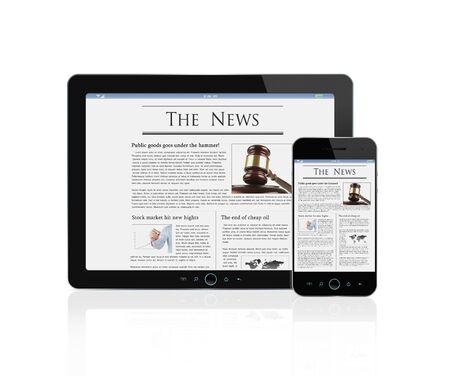Najnowsze wiadomości na cyfrowe tabletu i inteligentnego telefonu na białym tle