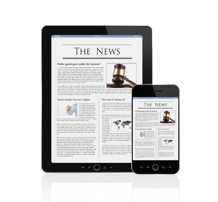 portable information device: Latest news at digital tablet and smart phone isolated on white
