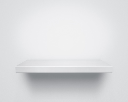 white shelf: Empty white wooden shelf at the wall with copy space Stock Photo