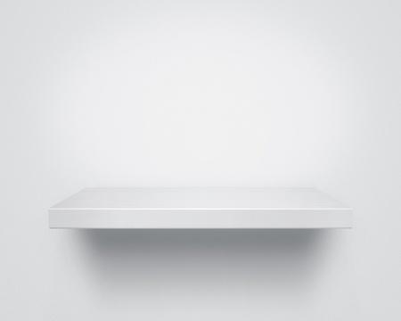 etagere murale: Vider �tag�re en bois blanc sur le mur, avec copie espace