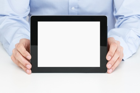 Office worker holding blank digital tablet photo