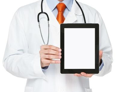 especialistas: M�dico explotaci�n digital de tablilla en blanco sobre fondo blanco Foto de archivo