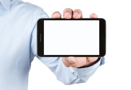 Male hand holding blank smart phone isolated on white background Stock Photo - 13270975