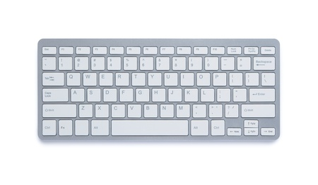 Modern aluminum computer keyboard isolated on white background with clipping path Stock Photo - 13294878