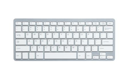 white keyboard: Modern aluminum computer keyboard isolated on white background