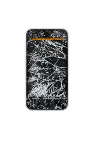 poškozené: Broken chytrý telefon izolovaných na bílém backgroun Reklamní fotografie