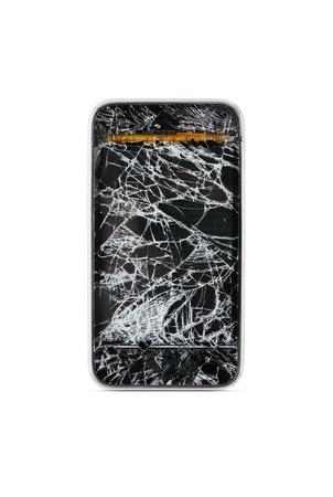 destroyed: Defekter Smartphone auf wei�em isoliert backgroun