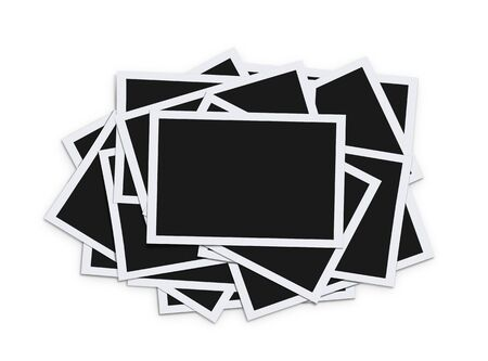 Stack of instant blank photographs isolated on white background  photo