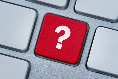 Question mark at the computer key Stock Photo - 13414705