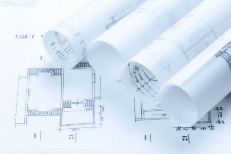 blue print: Architectural construction plans toned blue