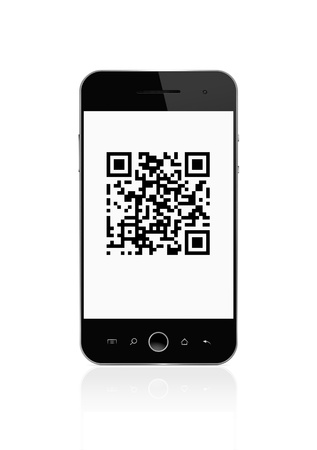 Qr code on smart phone isolated on white  photo