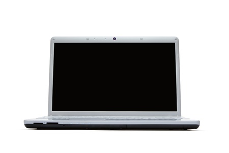 Blank silver laptop isolated on white background photo