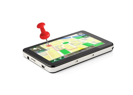 positioning: Red pin stuck in a GPS device isolated on white background