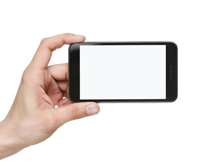 manos: La mano del hombre blanco la celebración de teléfono móvil inteligente