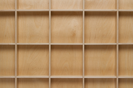 Close up of empty wooden shelf with copy space photo