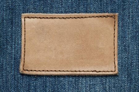 seam: Blank leather jeans label with copy space