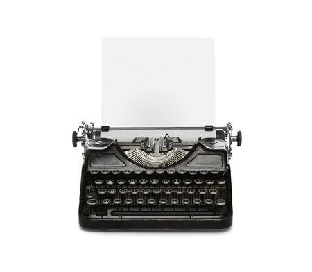 typewriter: M�quina de escribir retro oxidada con una hoja de papel aislado sobre fondo blanco