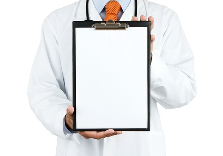 Doctor holding blank clipboard with copy space isolated on white background photo